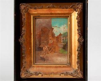 187: Antique Oil on Canvas, 'Epicerie'
