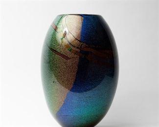 190: Randy Strong Large Dichroic Art Glass Vase