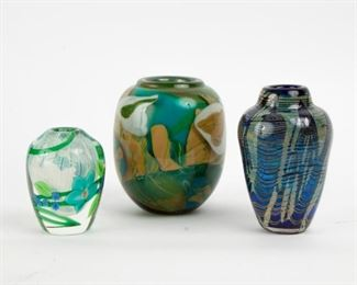 191: Three Art Glass Vases, 1980-1985