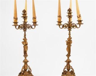 193: 19th c. Gilt Bronze Candelabra Pair