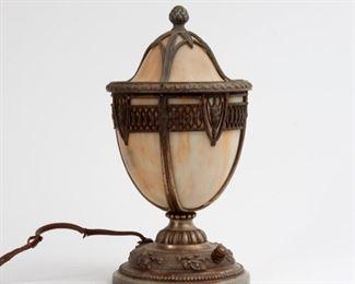194: Slag Glass Lidded Urn Boudoir Lamp