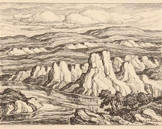195: Birger Sandzen 'White Rocks' Pencil-Signed Lithograph
