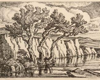 196: Birger Sandzen 'Margaret's Creek' Signed Lithograph