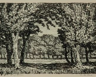 198: Birger Sandzen 'In the Park' Pencil-Signed Lithograph