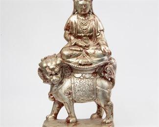 205: Silver-Leaf Guanyin on Buddhist Lion
