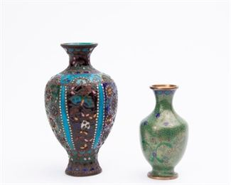 207: Two Chinese Cloisonne Vases