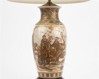 214: Japanese Drilled Satsuma Vase Table Lamp