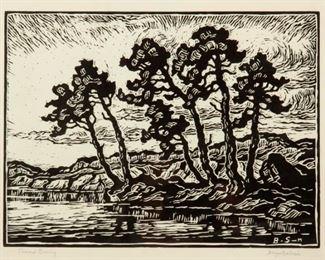 216: Birger Sandzen 'Toward Evening' Pencil-Signed Linocut