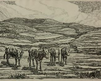 217: Birger Sandzen 'Hilly Pasture with Cows' Lithograph
