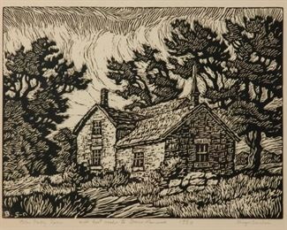 218: Birger Sandzen 'Blue Valley Farm' Pencil-Signed Linocut
