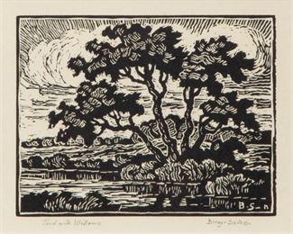 219: Birger Sandzen 'Pond with Willows' Signed Linocut