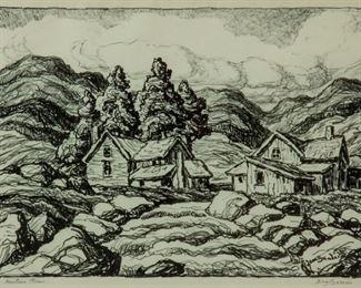 220: Birger Sandzen 'Mountain Stream' Signed Lithograph
