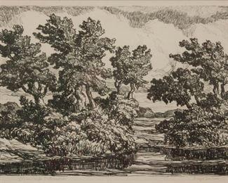 221: Birger Sandzen 'Stream with Cottonwoods' Lithograph