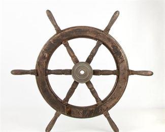 222: Large Late-19th c. English Oak Ships Wheel