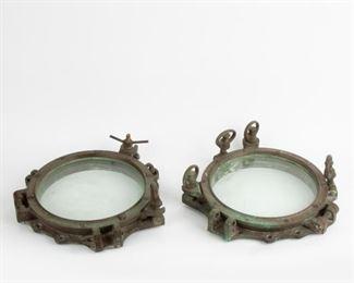 226: Pair of Vintage Brass Ship's Portholes