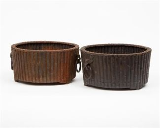 229: Pair of Cast Iron Faux-Bamboo Jardinieres