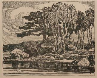 236: Birger Sandzen 'Birch and Pine' Signed Lithograph