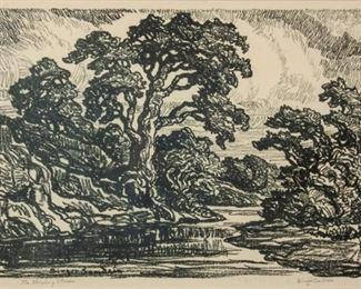 237: Birger Sandzen 'The Winding Stream' Signed Lithograph