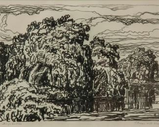238: Birger Sandzen 'Stream with Willows' Signed Lithograph