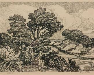 239: Birger Sandzen 'Blue River' Pencil-Signed Lithograph