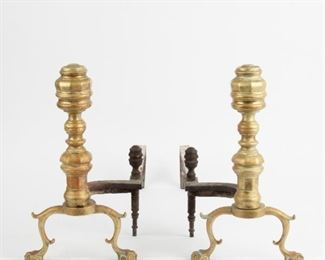 243: Chippendale Period Brass Andirons, 19th c. Brass Fender