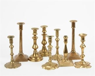 244: Nine Antique Brass Candle Holders