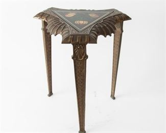 246: Verona Cast Metal End Table with Decorative Glass Top