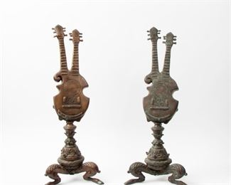 248: Patinated Metal Double-Guitar Fireplace Ornaments, Pair