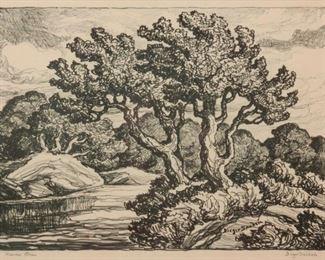 154: Birger Sandzen 'Kansas Stream' Pencil-Signed Lithograph