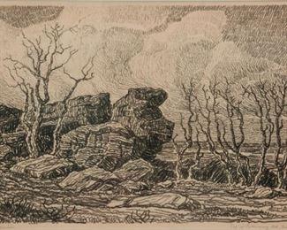 155: Birger Sandzen 'Top of Salemsborg Hill' Lithograph