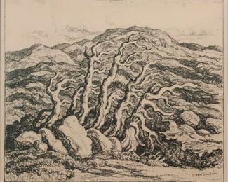 156: Birger Sandzen 'At the Timberline' Signed Lithograph