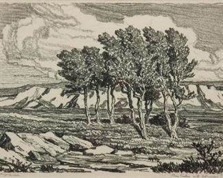 157: Birger Sandzen 'Stony Pasture with Cottonwood Grove' Litho
