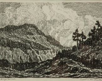 158: Birger Sandzen 'Sunset in the Mountains' Lithograph