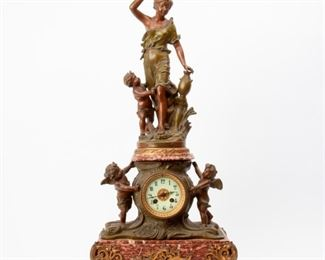 159: Anfrie Sculptural Mantel Clock, late 19th c.