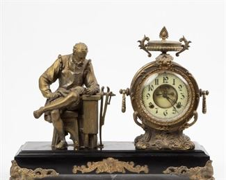 162: 19th c. New Haven Figural Spelter Mantel Clock