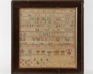 164: 1821 Alphabet and Crown Sampler, with Inscription