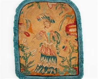 165: Late 18th c. Needlepoint, Woman In Her Garden