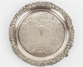 170: Sheffield Silver Salver with Engraved Crest