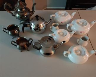 Not all teapots in picture. MULTIPLE sets sets. (Ceramic, 2 cast iron (one black, one gold painted) copper and sterling silver