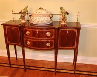 Henkel Harris Dining Table, Breakfront, Server and Hunt Table, Large Decorative Tureen and Pair of Parrot Figurines