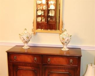 Cabinet with Gold Leaf Mirror and Pair of Covered Urns