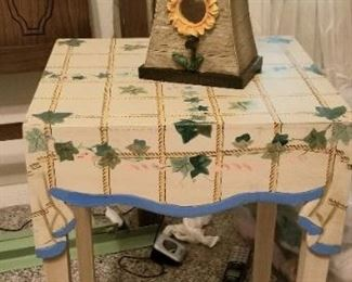 Hand painted table and several bird cages