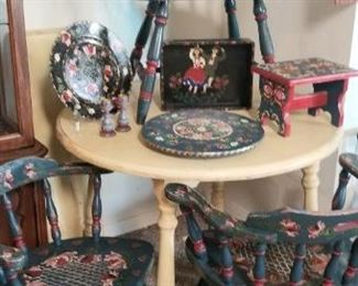 4 Bavarian style painted dining room chairs