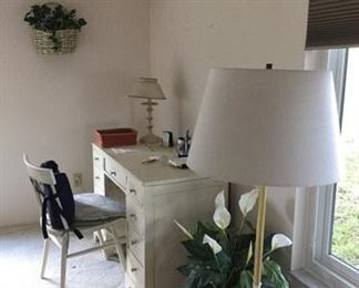 White Desk and White Desk Chair, Tall Lamp with White Table, Small Desk Lamp, Decorative Planters