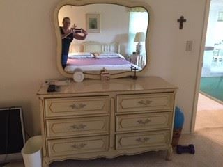 French Provincial 6 Drawer Dresser with matching Mirror