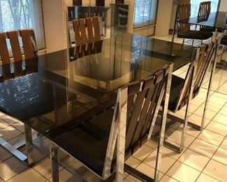 "Another view of Glass Table - ""Smoke"" glass top"