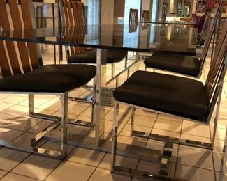 Chrome and Glass Dining table with 4 Chrome and Leather Side Chairs - excellent condition!