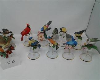 002 Franklin Mint Porcelain Bird Flower Bells