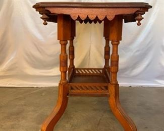 carved wood rolling wood table