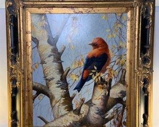 bird in tree painting
